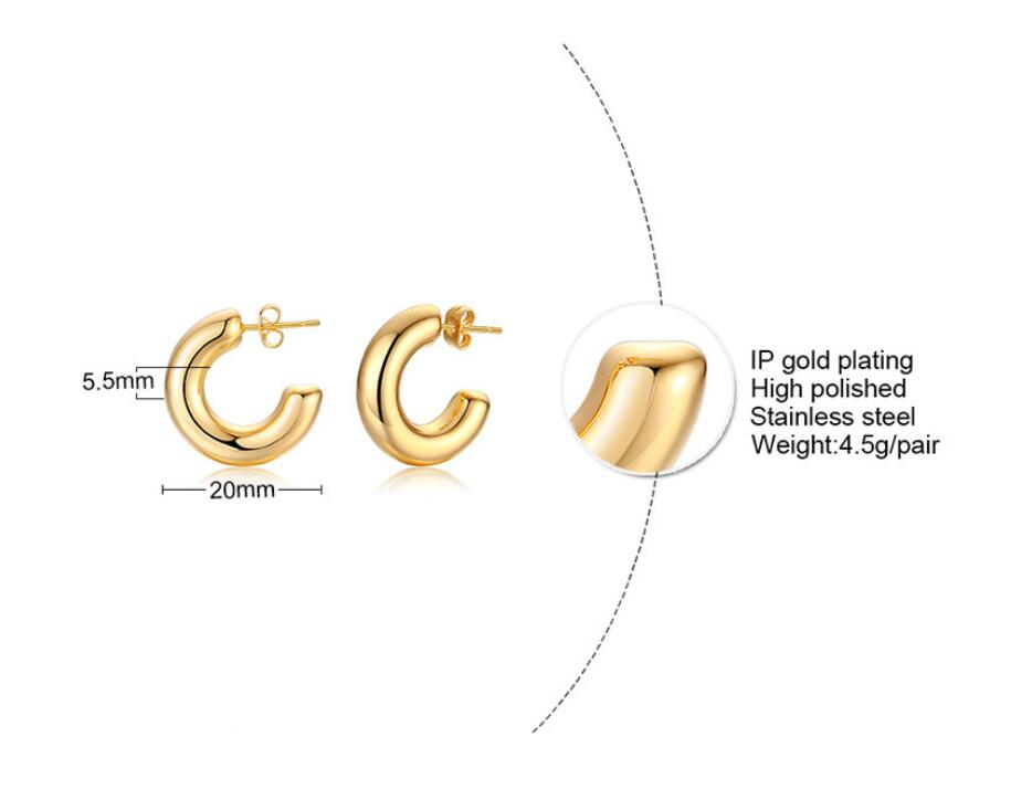 Simple Delicate Stainless Steel Small Gold Thick Bold Hoop Earrings Gold Plated C Studded Bohemian Hoop Earrings