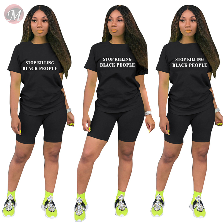 0060609 wholesale new fashion summer letter print sports set 2 Pcs Track Suit Outfits Two Piece Shorts Set Women Clothing