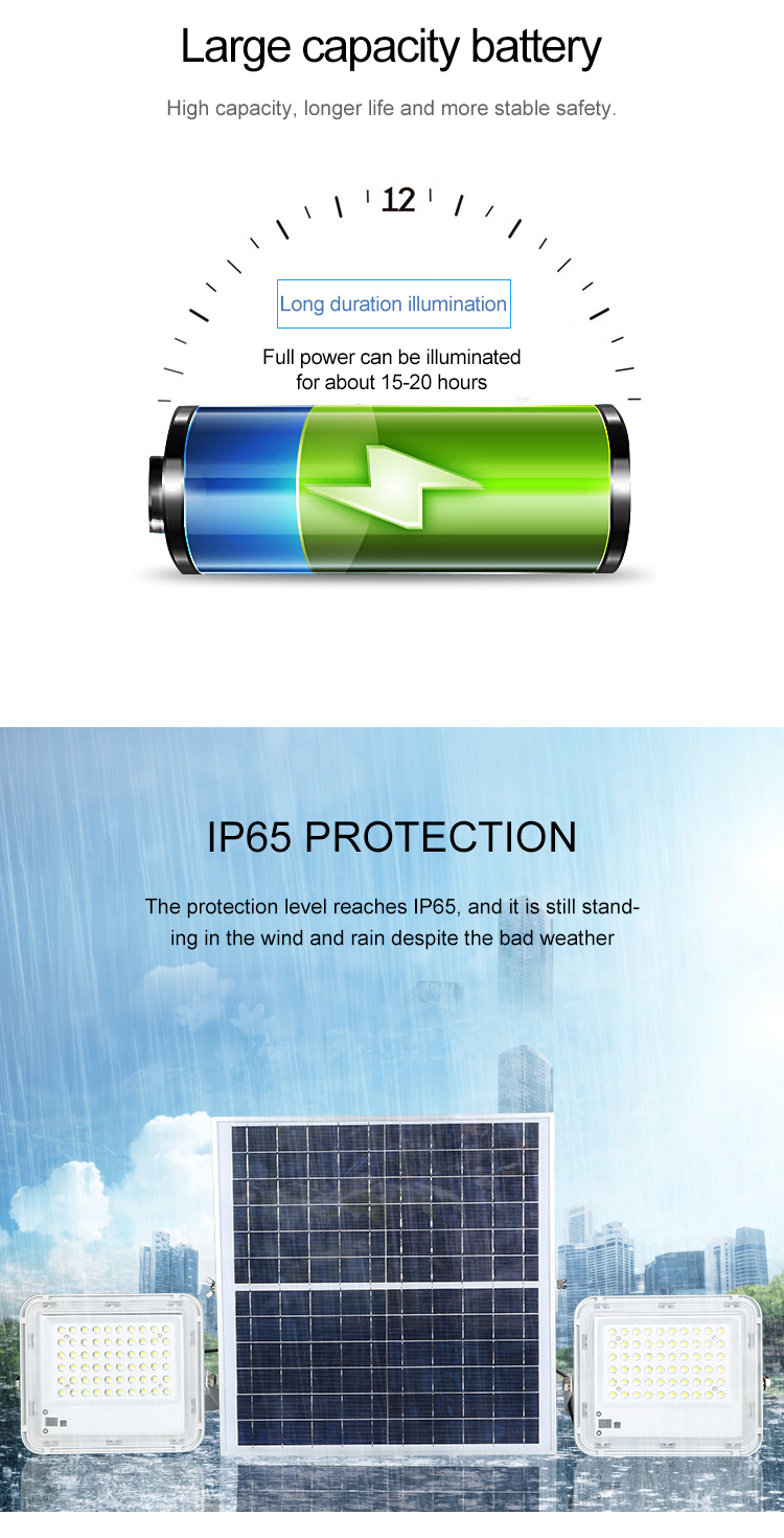 Açık IP65 su geçirmez bahçe 60w 100w 120w 150w 200w 300w 400w güneş led projektör