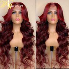 Wigleader Remy, человеческие волосы, глубокий пробор, кружевные передние парики, предварительно сорванные 150%, кружевные передние парики, красные/к...(Китай)