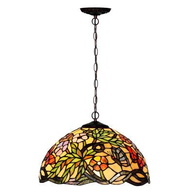 Toptan satış yüksek kaliteli antika vitray Tiffany tavan lambası gece dekorasyon vitray avize