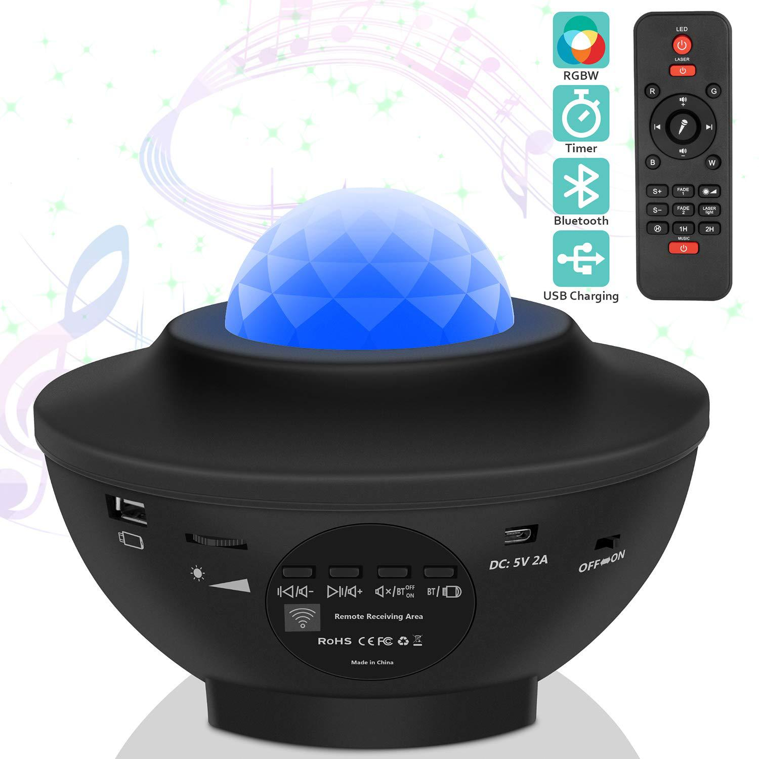 Star Projector Light, Ocean Wave Starry Projector LED Nebula Ambiance Light with 21 Lighting Modes, Bluetooth Speaker, Sound-Act