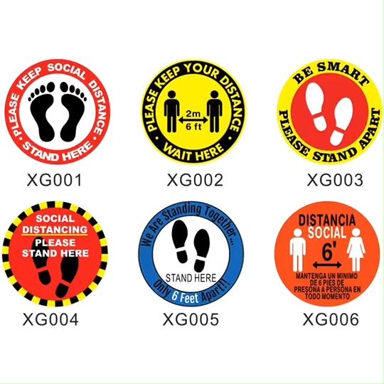 5pcs/set Keep Your Distance Vinyl Sticker 2m 6ft Social Distancing Floor Decal