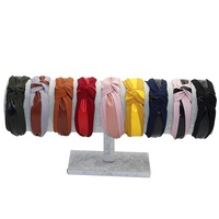 New Fashion Top Knotted Hair Hoop Fake Leather Striped Fabric Hairband for Women and Girls
