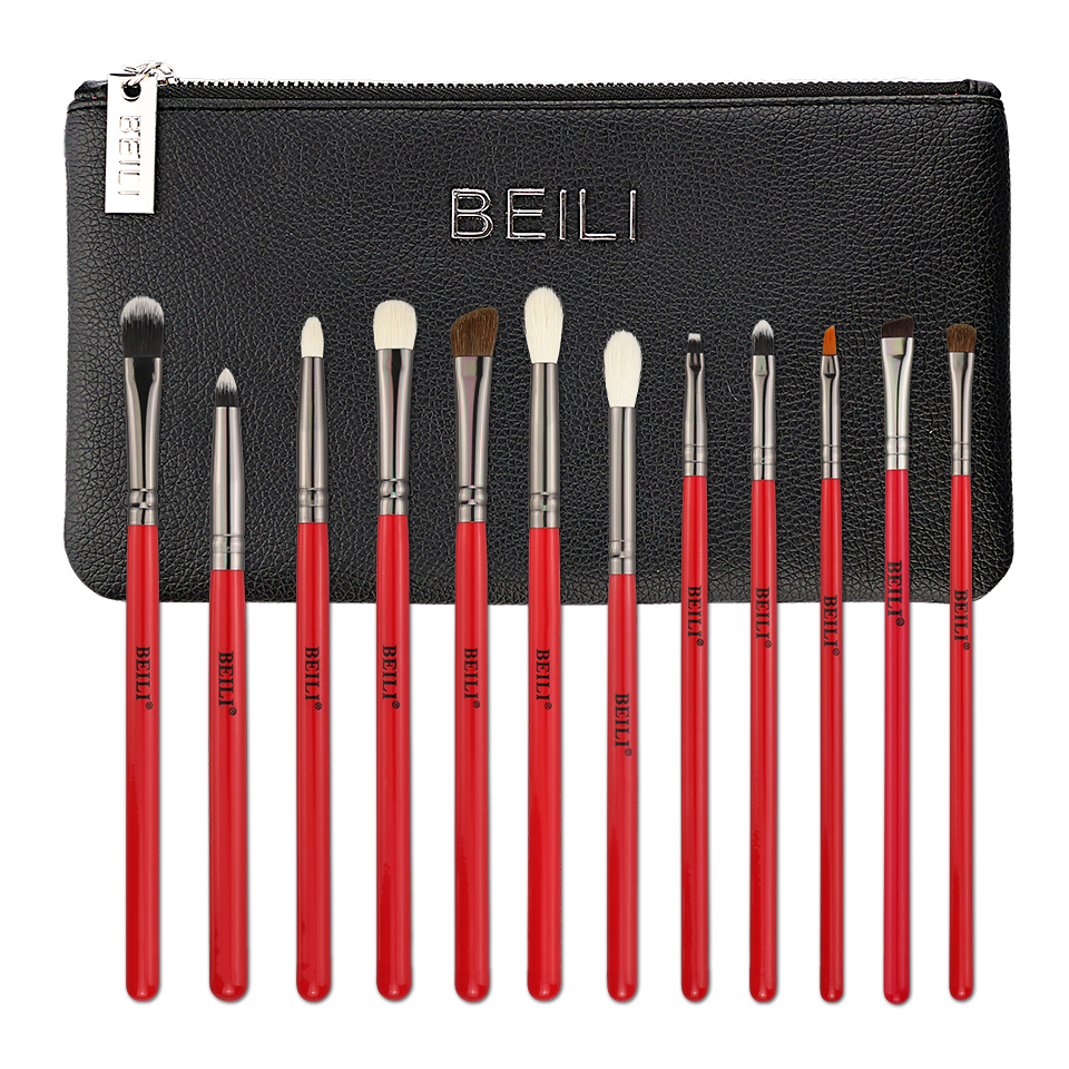 BEILI <strong>high</strong> <strong>quality</strong> red eye <strong>makeup</strong> <strong>brushes</strong> bag wooden handle Goat hair cosmetic tool sets 12Pcs eye blend <strong>brush</strong> 2019 wholesale