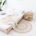 New design living room decor round floor mat digital printing round carpet with fringes