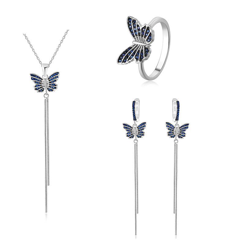 wholesale 925 sterling silver sapphire butterfly fashion jewelry set