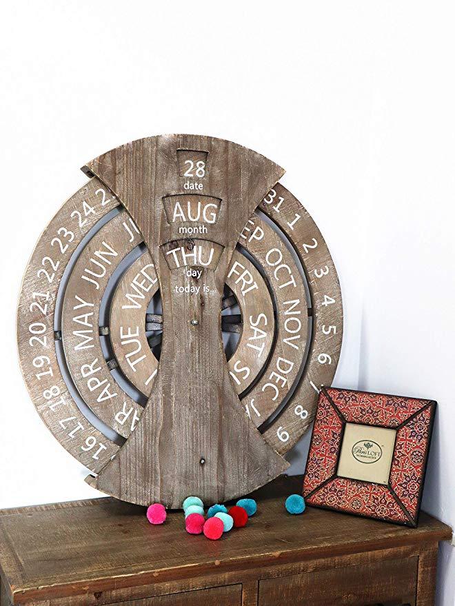 Деревянный Пользовательский деревенский круговой настенный вечный календарь