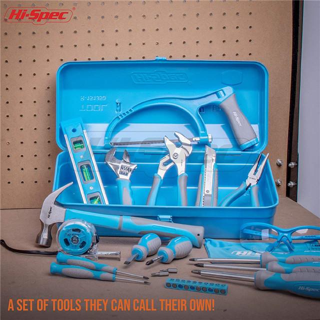 as/í como para reparaci/ón gafas de seguridad y un juego de 100 piezas para colgar cuadros en las paredes Kit de herramientas de bricolaje para el hogar compuesto por 35 piezas en color azul