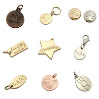 Fahion design made custom silver logo stamped metal jewelry tags for pendant / necklace