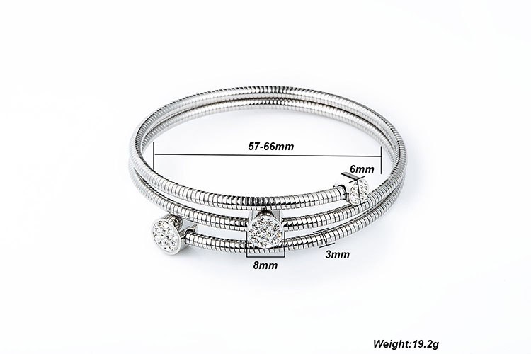 Marlary Most Popular Stainless Steel Jewelry Cz Inlay Charm Bracelet Bangles For Women