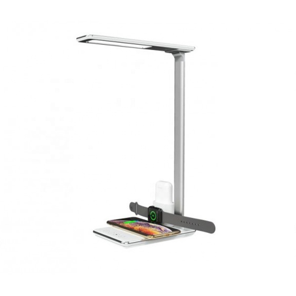 Fast Wireless Charger LED Light Eye-Caring Desk Lamp with USB Charging Port and Charging Station for iWatchs Charging