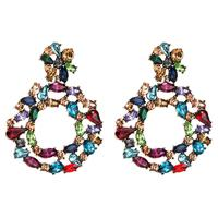 Cross-border New Ring Diamond Large Acrylic Earrings Rainbow Rhinestone Big Round Earrings For Women