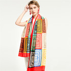 Hot sale spring and fall print twill ladies stoles fashion geometric pattern printed scarf