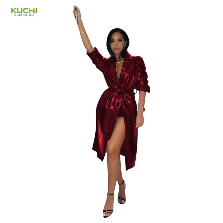 Vestes en cuir Pu pour femmes, chemisiers, Streetwear à la mode, couleur unie avec ceinture, vestes et manteaux pour filles, collection automne 2020