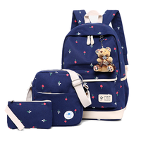 Hot sale star pattern nice water resistant 3 pieces student shoulders bag back to school bags backpack set for girl