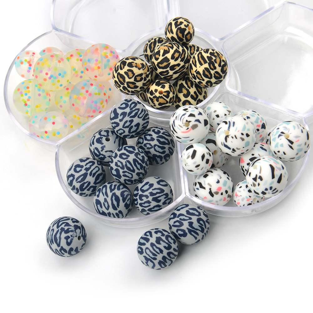 Custom Chew Grey Blue Leopard Print Color In Stock Silicone Teething Beads for Jewelry