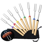 Marshmallow Roasting Sticks BBQ Extendable forks 32-Inch telescopic Sticks wood Handle with red color 8 pcs express free to USA