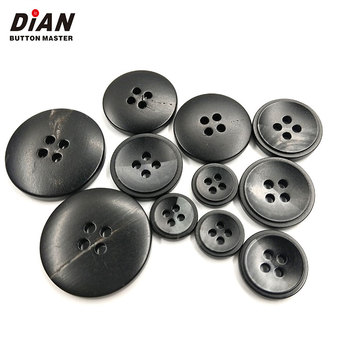 4 Holes custom  designer  clothes black  horn buttons for suits mens