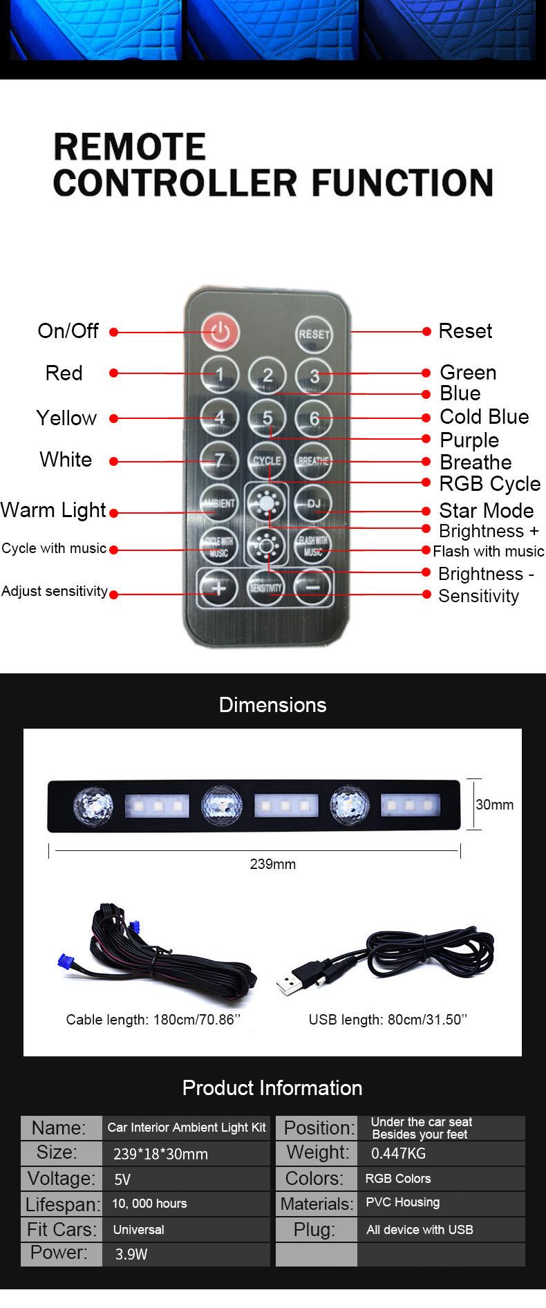 NSSC Auto Umgebungs Licht Innen LED RGB Fernbedienung Boden Licht