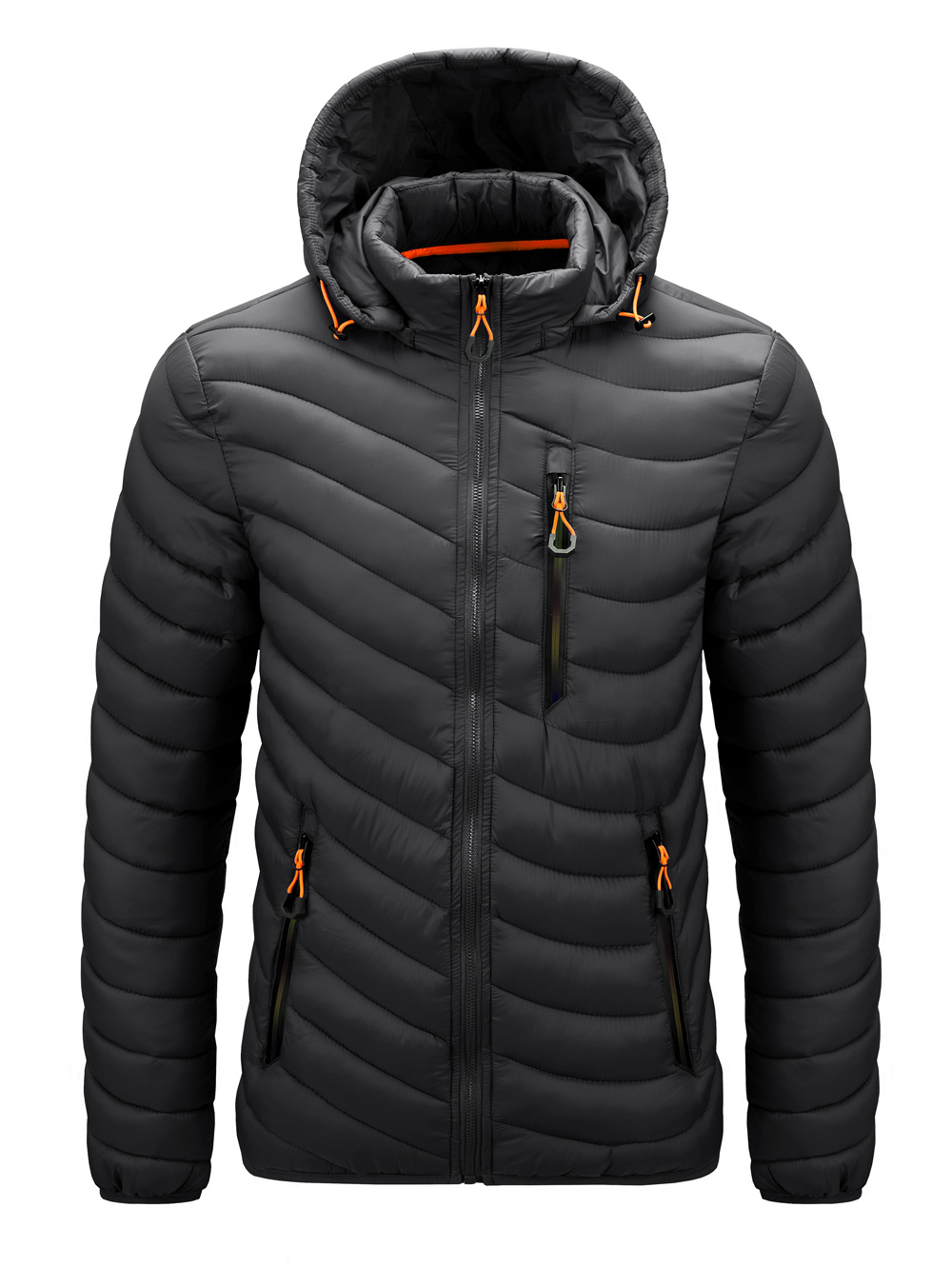 Winter Cotton-padde Plain Colors Outdoor Cold Season Down Jackets Hooded For Men