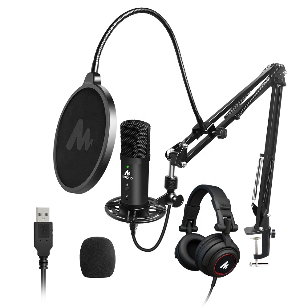 MAONO Studio USB Microphone With Real time Monitor Headphones FOR Live Recording With Computer Podcast Microphone Kit