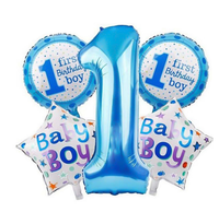 5 Pcs 1st Kids Supplies Pink Blue Number Foil Air Balls Boy Girl Toys Decorations Baby 1st Balloons Set