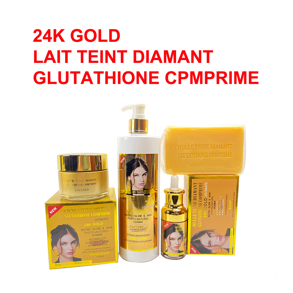 Lait Teint Diamant Gluatathione Comprime Ultimate Whitening Skincare Set with 24K Gold Nutri Glow and AHA