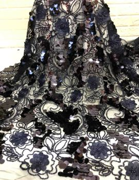Hot sale custom decorative floral heavy bridal navy blue black beaded lace fabric