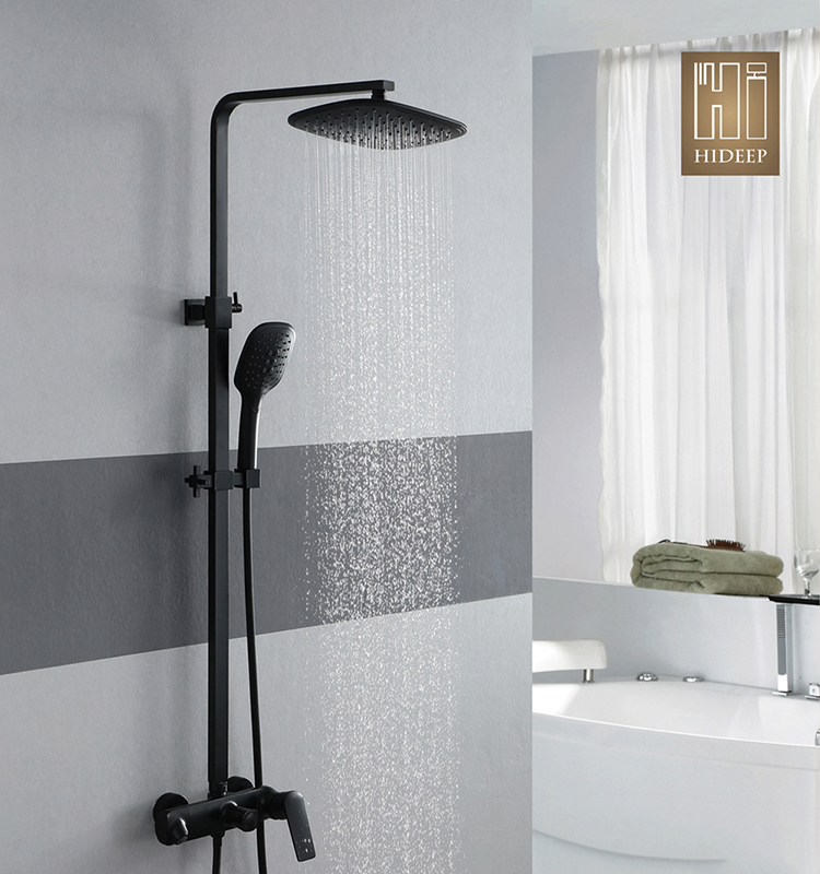 Bathroom shower mixer 260x195mm ABS shower head wall mounted hot cold black shower faucet set