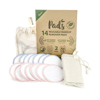 ECO Natural Bamboo Organic Cotton Rounds Reusable Eye Makeup Remover Sanitary Pads For Facial Cleansing