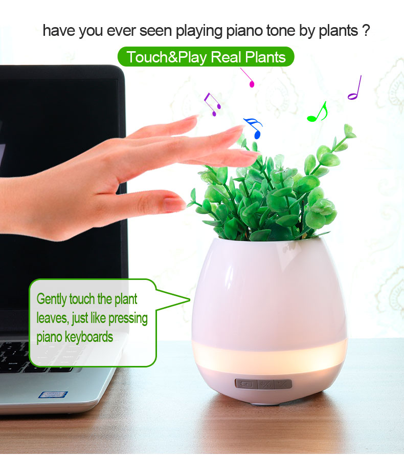 Music Plant Pot Speaker Bluetooth Flower Pot Speaker Touch Play Piano Tone With Soft Night Light
