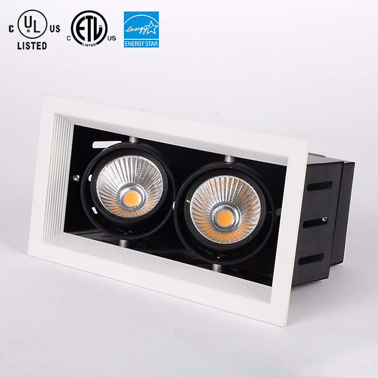 Superior quality recessed cob 2x30w led grille light twin gimbal downlight