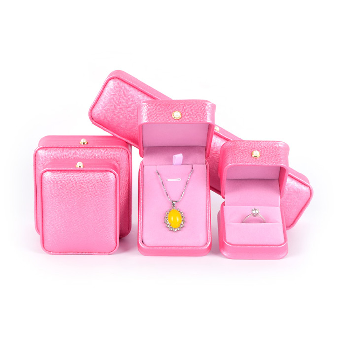 Wholesale wonderful lovely pink mini pu leather necklace gift jewelry packaging box