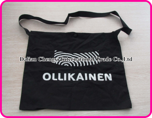 Black Cotton Cycling Feeding Musette Bag with Two color printing