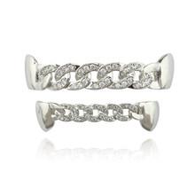 Кубинской grillz gold серебро Цвет в стиле «хип-хоп» верхней и нижней зубы грили лавинно с CZ камни зуб гриль для подарка Модные украшения(Китай)