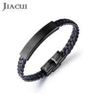 Jiacui Jewelry Bracelets Men's Leather Woven Simple Fashion Wind Titanium Stainless Steel Pu Leather Bracelets for Men