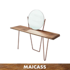 Stainless steel legs wooden console table with mirror