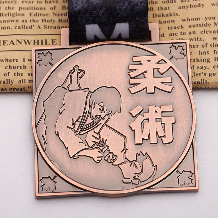 Factory zinc alloy metal bronze judo sports challenge medal