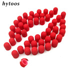 50Pcs/Pack 7*13mm Red Plastic Base Sanding Caps With Grip Pedicure Care Polishing Sand Block Drill Accessories Foot Cuticle Tool