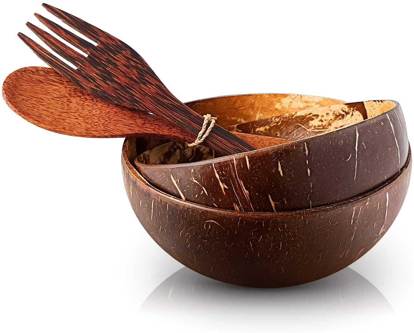 Eco Organic Wooden Cutlery Spoon Fork Vietnam Salad Smoothie Coconut Bowl Set