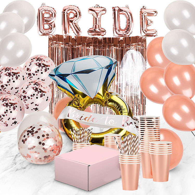 Nicro Rose Gold Vrijgezellenfeest Levert Kit Bruids Douche Decoratie