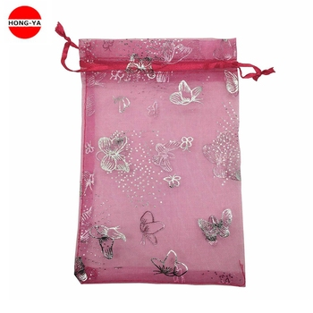 Butterfly printed pink organza gift packing bag with drawstring