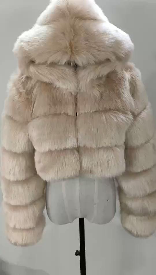2020 Baru Lengan Panjang Saku Hoodie Fashion Pendek Palsu Bulu Imitasi Mantel Plus Ukuran Wanita Musim Dingin Jaket dan Mantel