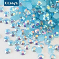 OLeeya Factory Flatback Round Beads Perfect Cut Aquamarine AB 6mm Resin Jelly Nail Art Rhinestones For Nails