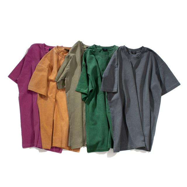 Camiseta personalizada impressão masculina em branco planície lavagem ácida angustiada camiseta de malha oversized