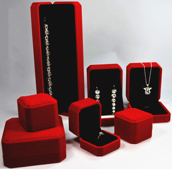 High-grade flannelette jewelry ring necklace box