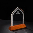 Trophy Wood Awarding Customized Sandblasting Exquisite Religious Crystal Plaque Trophy With Big Wood Base For Awarding Medal