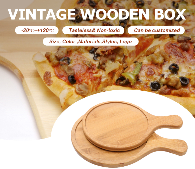 Cheap Bamboo Wooden Round Pizza Paddle Chopping Board