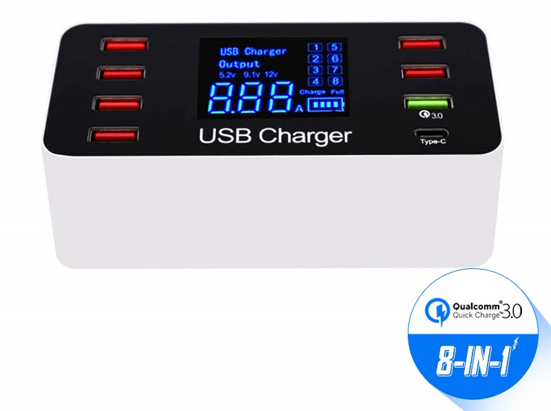 8 Port Multi Snelle USB Charger Quick Charge 3.0 Meerdere USB Telefoon Opladen Station Universele USB HUB Charger QC 3.0 LED Display